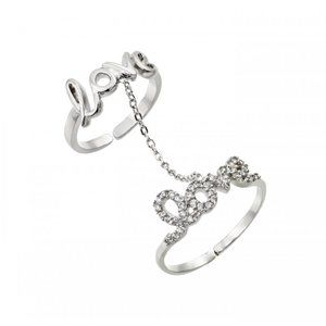 Silver 925 Clear CZ Love Knuckle Slave Ring